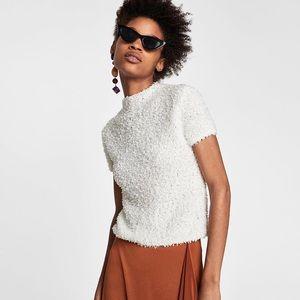 Zara crop sweater with round neckline short sleeve